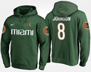 University of Miami Green Duke Johnson College Hoodie #8 Mens