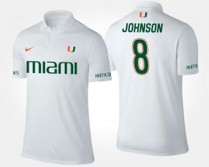 White Miami Hurricane For Men's Duke Johnson College Polo #8