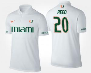 For Men's #20 Miami Ed Reed College Polo White