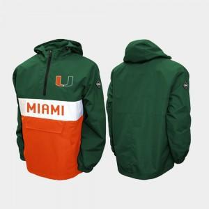 Miami Green Half-Zip College Jacket Alpha Anorak Pullover Men