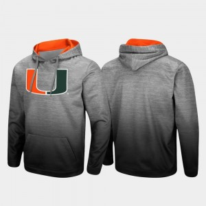 For Men's College Hoodie Sitwell Sublimated Pullover Miami Hurricane Heathered Gray