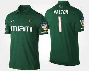 Mark Walton College Polo Miami Hurricane Green Bowl Game Orange Bowl For Men's #1