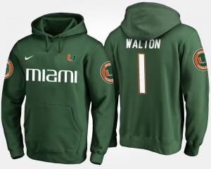 Mark Walton College Hoodie Green #1 Mens University of Miami