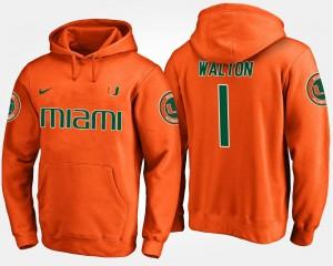 Orange Men #1 Mark Walton College Hoodie Miami Hurricane