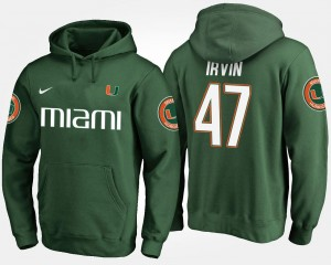 Green #47 Michael Irvin College Hoodie Men's Miami Hurricane