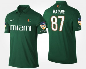 Men's #87 Reggie Wayne College Polo Bowl Game Hurricanes Green Orange Bowl