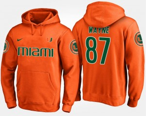 #87 For Men's Orange Reggie Wayne College Hoodie Miami Hurricane