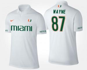 White #87 Miami Hurricanes Men Reggie Wayne College Polo