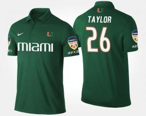 Orange Bowl Sean Taylor College Polo #26 Green Mens Bowl Game Hurricanes