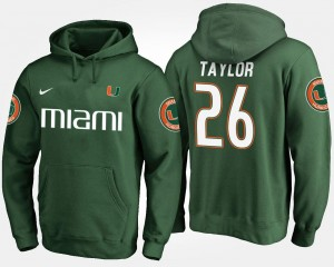 Sean Taylor College Hoodie #26 Green University of Miami For Men's