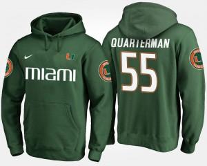 #55 Miami Hurricanes Green Mens Shaquille Quarterman College Hoodie