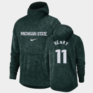 For Men Basketball Spotlight Michigan State Spartans Pullover Team Logo #11 Aaron Henry College Hoodie Green