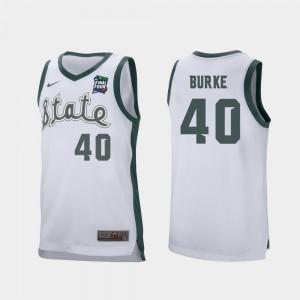 #40 Men's Michigan State Spartans Braden Burke College Jersey 2019 Final-Four Retro Performance White