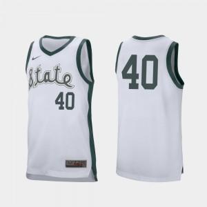 White Basketball Braden Burke College Jersey Michigan State Spartans Mens Retro Performance #40