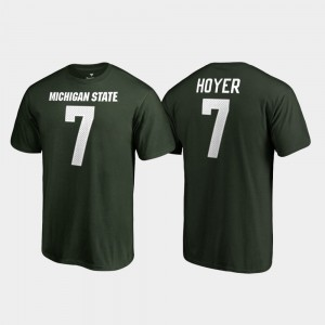 #7 Brian Hoyer College T-Shirt Name & Number Michigan State University For Men Legends Green