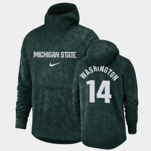 Brock Washington College Hoodie Basketball Spotlight Green Men's Michigan State #14 Pullover Team Logo