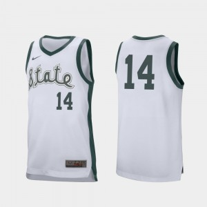 #14 Retro Performance White Mens Brock Washington College Jersey Basketball Michigan State University
