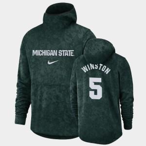 Basketball Spotlight Michigan State Cassius Winston College Hoodie Mens Green Pullover Team Logo #5