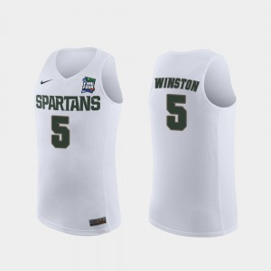 2019 Final-Four #5 Michigan State Replica White Cassius Winston College Jersey Men