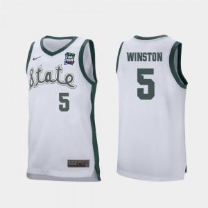 White 2019 Final-Four #5 Retro Performance Mens MSU Cassius Winston College Jersey