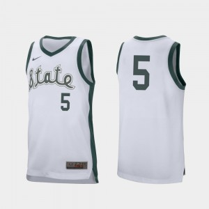 Retro Performance Basketball For Men's White Spartans Cassius Winston College Jersey #5