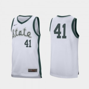 For Men's Conner George College Jersey Retro Performance #41 Michigan State Spartans Basketball White