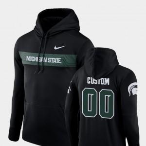 Black Football Performance Michigan State #00 Mens Sideline Seismic College Customized Hoodie