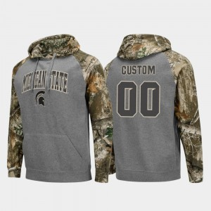 Realtree Camo College Customized Hoodie Football Raglan For Men's Charcoal #00 Spartans
