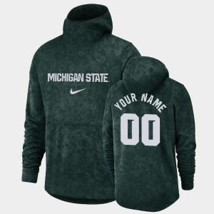 College Customized Hoodie Green #00 Pullover Team Logo Spartans Basketball Spotlight Mens