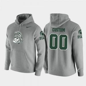 #00 Pullover Men Heathered Gray College Customized Hoodies Vault Logo Club Michigan State