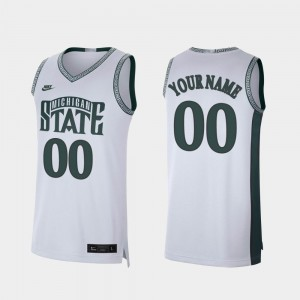 Men College Custom Jerseys Retro Limited Michigan State Spartans White #00 Basketball