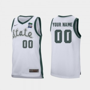 Retro Performance Michigan State University White College Customized Jersey 2019 Final-Four #00 Mens