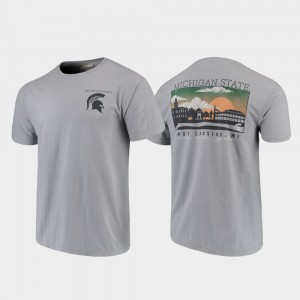 Campus Scenery Michigan State For Men College T-Shirt Comfort Colors Gray