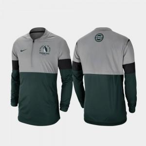 Rivalry MSU Men Football Half-Zip College Jacket Gray Green