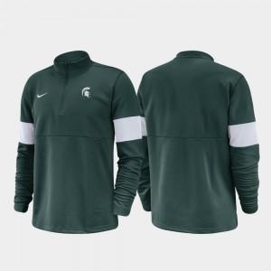 Green 2019 Coaches Sideline College Jacket Michigan State University For Men Half-Zip Performance
