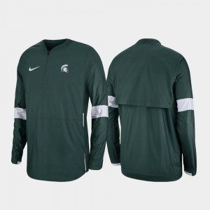 Michigan State University Green Quarter-Zip Men's College Jacket 2019 Coaches Sideline
