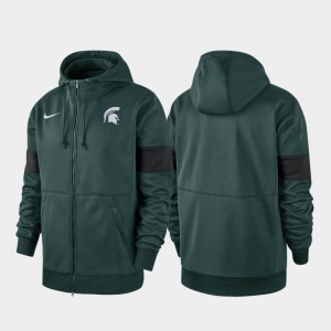 Green Performance Full-Zip College Hoodie 2019 Sideline Therma-FIT Michigan State Spartans Men's