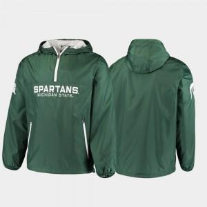 Half-Zip Michigan State Base Runner Green College Jacket Men