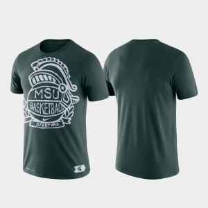 For Men Basketball Crest College T-Shirt Green Performance Michigan State Spartans