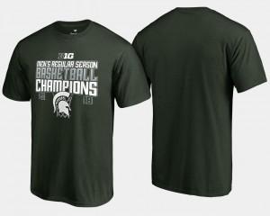 College T-Shirt Basketball Regular Season MSU For Men Green 2018 Big Ten Champions