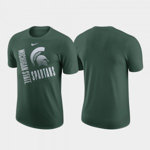 College T-Shirt Green Performance Cotton MSU Just Do It For Men