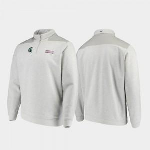 Heathered Gray Quarter-Zip College Jacket For Men Shep Shirt Spartans