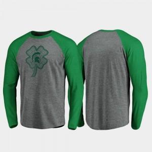 For Men Michigan State University College T-Shirt St. Patrick's Day Raglan Long Sleeve Celtic Charm Heathered Gray
