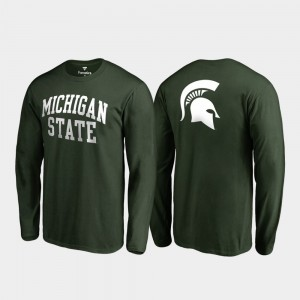 Primetime Mens College T-Shirt Michigan State Spartans Hunter Green Long Sleeve