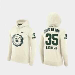 Joe Bachie College Hoodie Mens #35 Rival Therma Cream Football Pullover Michigan State University