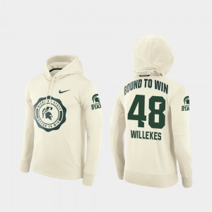 Men's Football Pullover Rival Therma Cream Michigan State Spartans Kenny Willekes College Hoodie #48