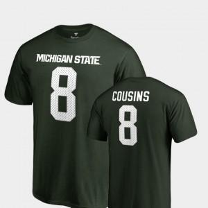 Kirk Cousins College T-Shirt #8 Name & Number Green Legends Michigan State University Men