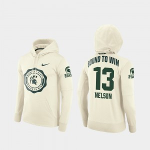 #13 Laress Nelson College Hoodie Football Pullover Men Cream Michigan State Spartans Rival Therma