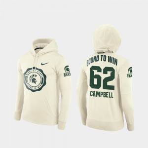 #62 Rival Therma For Men's Cream Luke Campbell College Hoodie Football Pullover Michigan State University
