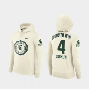 Cream Mens Spartans Rival Therma #4 Football Pullover Matt Coghlin College Hoodie